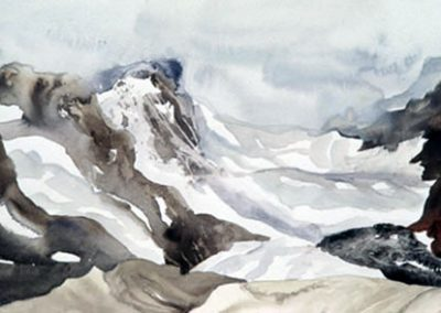 "© Adeline Rockett Columbia Ice Fields Watercolour 7.5"" x 11"""