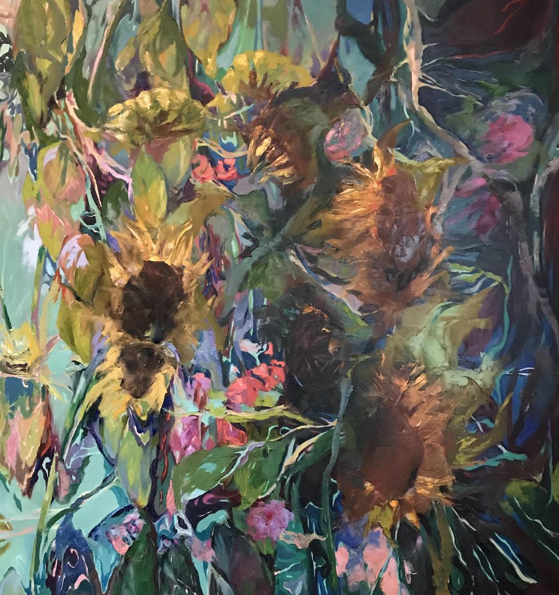 "© Bonnie Scott Sunflower Tangle 48"" x 48"""
