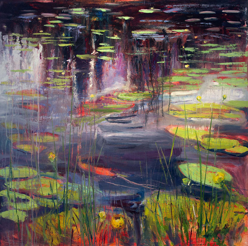 "© Liz Sullivan Lily Lake Reflections Purple Shades 40"" x 40"""