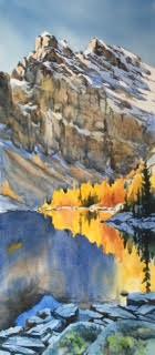 """© Donna Joe Massie Lake Agnes, Watercolour on board 14"""" x 27"""""""