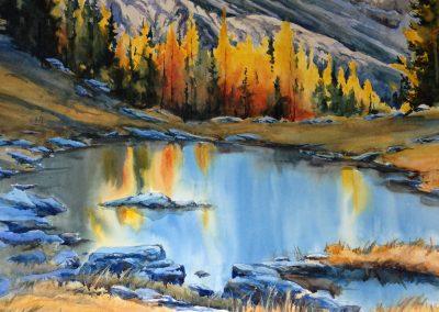 "© Donna Joe Massie Bow Lake, Watercolour on board 14"" x 27"""