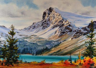 """© Donna Joe Massie Jo Opabin Plateau, Watercolour on board 14"""" x 27"""""""